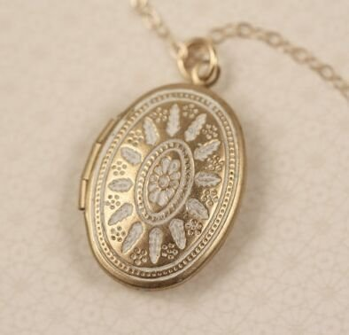 LONG Small White Ornate Locket Necklace, Oval Pendant, Delicate, 14kt Gold Filled (Ornate Locket)