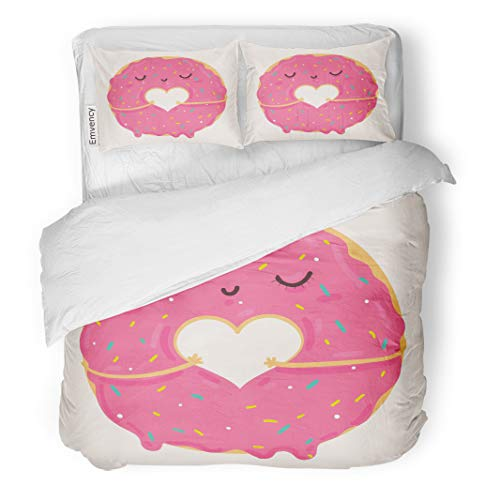 Semtomn Decor Duvet Cover Set King Size Cute Pink Cartoon Donut Heart and Face Valentine 3 Piece Brushed Microfiber Fabric Print Bedding Set Cover