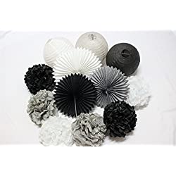 12 PCS Mixed Black Gray White Tissue Pom Poms Paper Lanterns Paper Fan for Birthday Party Wedding Celebration Baby Shower Festival Decoration