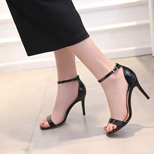 Cuadrada Hebilla Boda Liangxie Zapatos Clásica color Serie Negro Fiesta Formales Un De Mujer Confort Tacones Zhhzz Carácter Altos Sólido Solo Cabeza Súper Sandalias sexy 1Zw8ZTqrPx