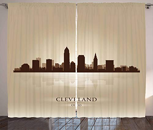 Lunarable Cleveland Curtains, Earth Tone Silhouette of Post-Modern Style Skyscrapers and Reflection, Living Room Bedroom Window Drapes 2 Panel Set, 108 W X 84 L Inches, Pale Brown Brown Beige