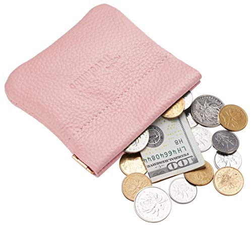 (Travelambo Leather Squeeze Coin Purse Pouch Change Holder For Men & Women (Pebble Pink Light))
