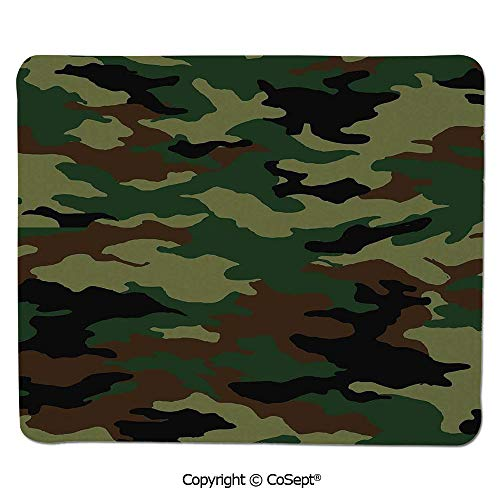 Mouse Pad,Fashionable Graphic Uniform Inspired Soldier Clothing Wavy Design,Water-Resistant,Non-Slip Base,Ideal for Gaming (11.81