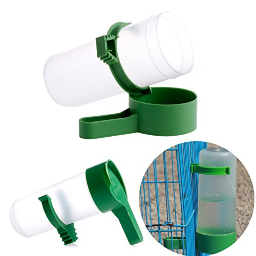 Tangc S/L Bird Drinker Food Feeder Waterer Clip for Aviary Budgie Cockatiel Lovebirds (L)
