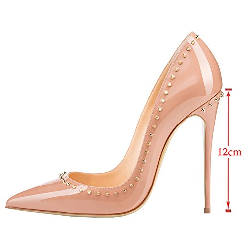 Pointed Women's Slip Toe Heel Rivets Dress Pumps High Stiletto Shoes VOCOSI Nude on Sexy TARxwT