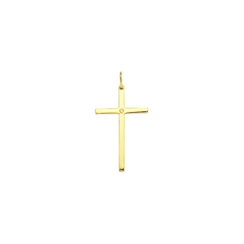 14kt Yellow Gold 1pt Diamond Cross Pendant