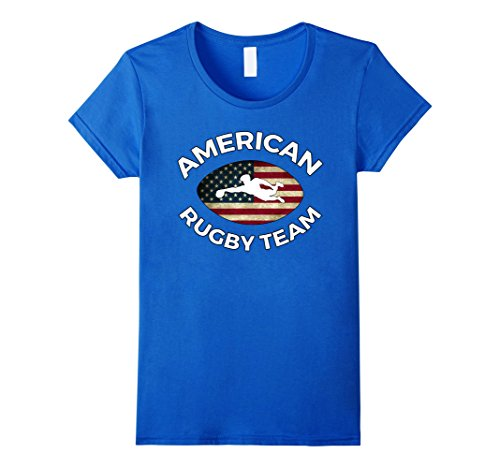 Womens Rugby Team T Shirt with American Flag, USA Supporters Gift Medium Royal Blue - Classic Supporters Rugby Shirts