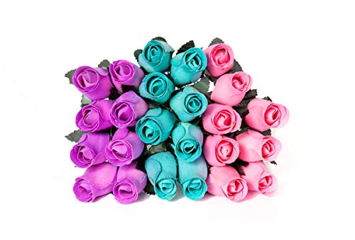 24 Realistic Wooden Roses - Light Blue, Purple, Pink ()