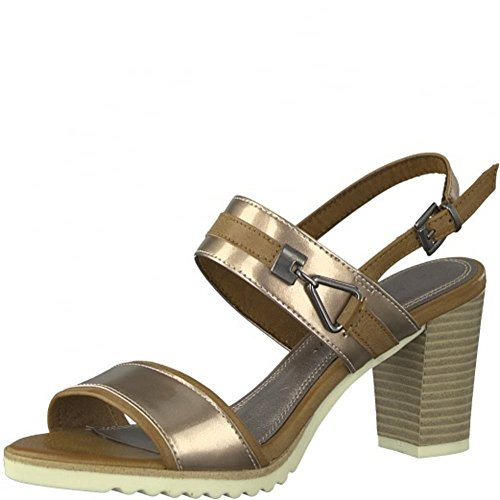Marco Tozzi Womens Rose Gold and Tan Mid Heel Sandal