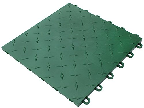 Trac Step Modular Interlocking Garage, Deck, Patio Tile - Forest Green 100 Tile - Set (Patio Building Steps Stone)