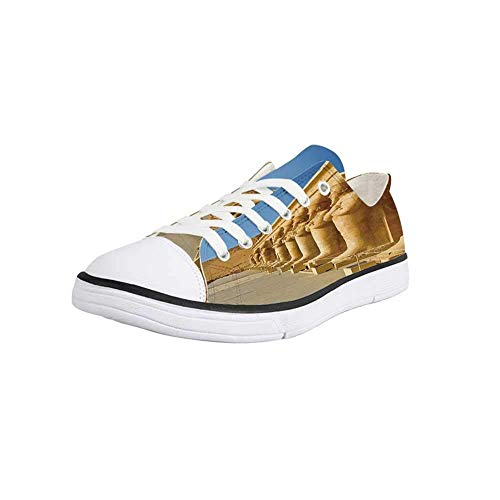 Canvas Sneaker Low Top Shoes,Pillar Decor,The Facade of Hatshephut Temple Decorated with The Osirian Statues Print Man 10