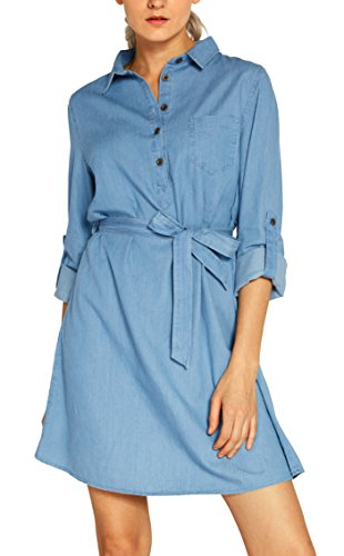 Urban GoCo Camisas Largas Mujeres Blusas de Vestidos de Mezclilla Manga Larga Shirt Tops Collar de Botón: Amazon.es: Ropa y accesorios