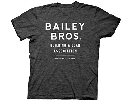 Ripple Junction It's a Wonderful Life Adult Unisex Bailey Bros Light Weight Crew T-Shirt XL Heather Charcoal
