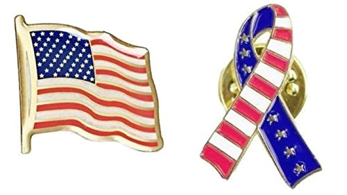 Prime-Products American Flag Pin & Ribbon Lapel Pin Set - Classic Design - Support Our Troops Pin - USA Flag Pin - Freedom Pin ()
