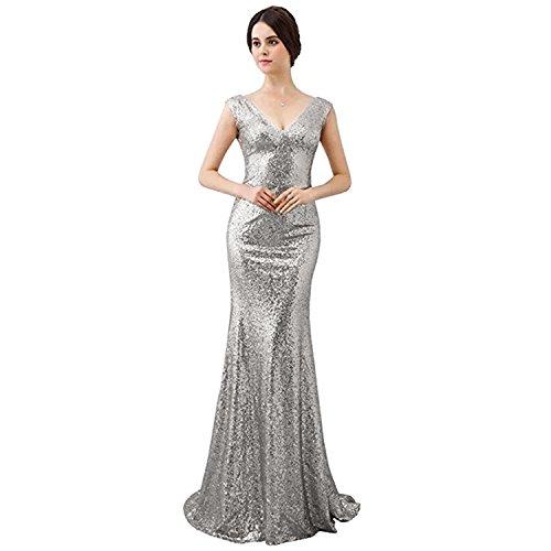 Aiyana Silber Prom Party kleid VAusschnitt Langes Dame Abendkleid ...