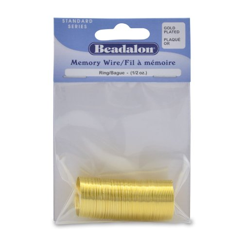 - Beadalon 347A-010 Gold Plated Memory Wire Ring, 1/2-Ounce/Pkg, Approximately 99 Loops