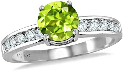 Star K Round 7mm Simulated Peridot and Cubic Zirconia Ring