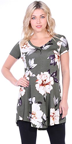 - Popana Women's Tunic Tops for Leggings Short Sleeve Summer Shirt Made in USA Large ST86