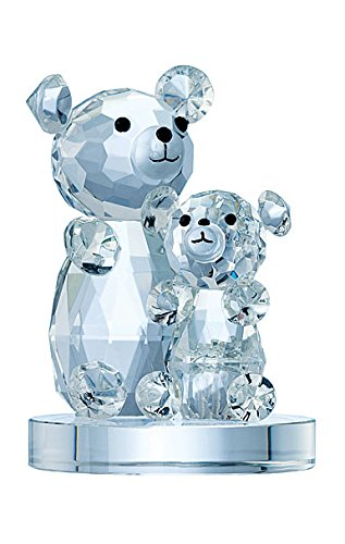 Belleek Galway Crystal IC11 Momma and Baby Bear Figurine, 3.9-Inch, Clear -