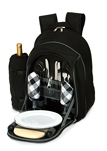 Picnic Backpack for 2 - Complete Set includes Premium Stainless Steel Tableware, Cheese Board, Wine Opener, Insulated Food & Wine Cooler Bag Compartment, Total 17 accessories - by Picnic Plus
