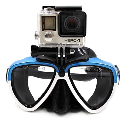 TELESIN Dive Mask with Detachable Camera Screw Mount - Compatible with GoPro/DJI Osmo Action/Xiaoyi- Blue & White