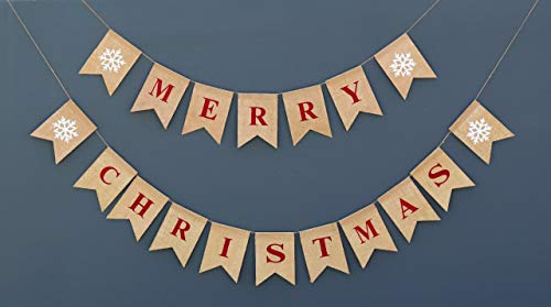 Merry Christmas Burlap Banner | Christmas Burlap Banner | Snowflake Garland | Holiday Bunting | Home and Outdoor Banner | Natural Burlap Banner | Christmas Decoration (Merry Christmas)