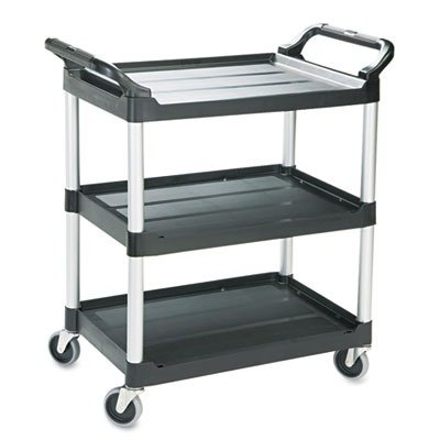 RUBBERMAIDCOMMERCIAL 342488BLA Economy Plastic Cart, Three-Shelf, 18-5/8w x 33-5/8d x 37-3/4h, Black by Rubbermaid Commercial