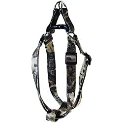 Pet Champion Hunting Adjustable No Pull Step-in Easy Lead Dog Harness, Mossy Oak Camo, Medium 5/8in x 14-20in