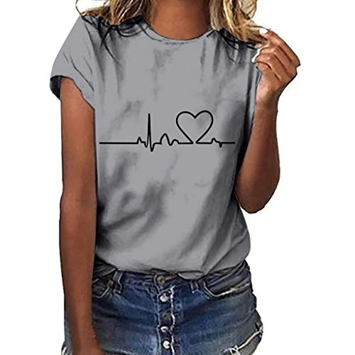YEZIJIN Women Girls Plus Size Heart Print Short Sleeved T-Shirt Blouse Tops 2019 New Sexy T-Shirt Gray]()