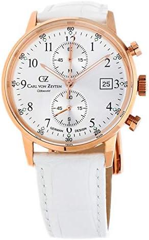Carl von Zeyten CVZ0012RSL Dameshorloge chronograaf kwarts horloge met lederen armband 4dnJOBP2