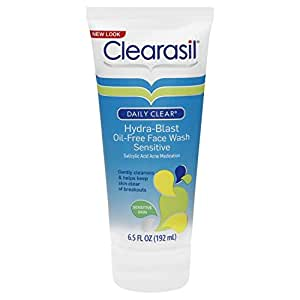 Clearasil Daily Clear Face Wash, Hydra-Blast Oil-Free, Sensitive 6.5 oz (Pack of 6)