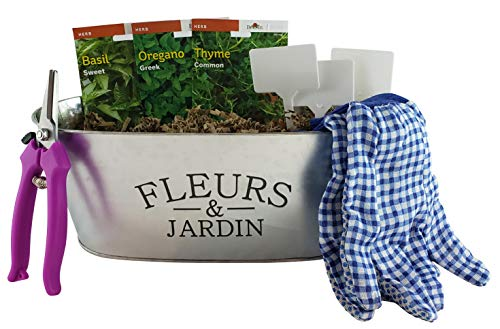 Culinary Herb Growing Starter Indoor Kit with Galvanized Tin Planter Includes: 3 Herb Seeds Starter Packs, Pruners, Gloves, Herb Garden Markers and a Floral Gift Card (French ()