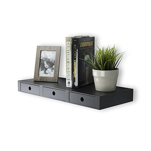 Wallniture Wall Mountable Floating Shelf Storage Organizer with 3 Drawers in Black