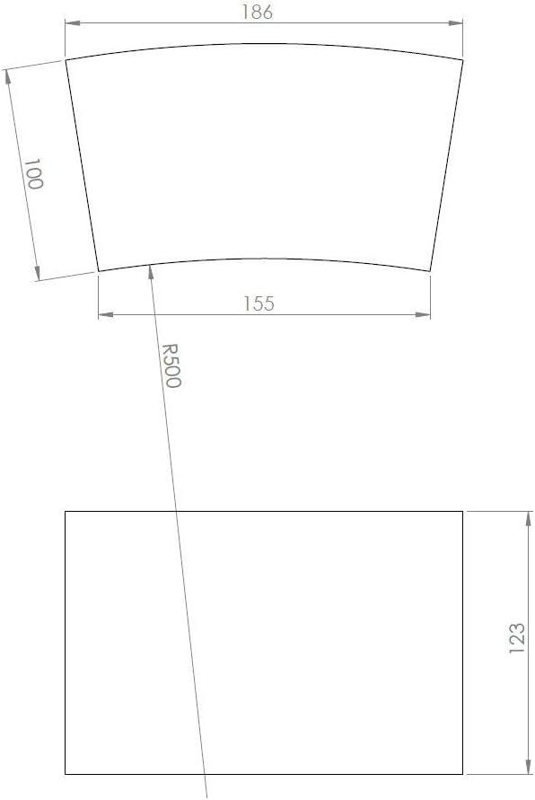 PUR Schamotte Schamottstein Radial 218 x 155 x 123 100 mm 1 Stein