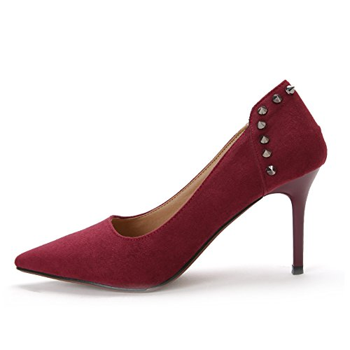 Shoes Women's Suede NO High Top Pointed 654 Slip Court Toe Red Stylish On Wine Stilettos Low fereshte Heels fwqHORdxw