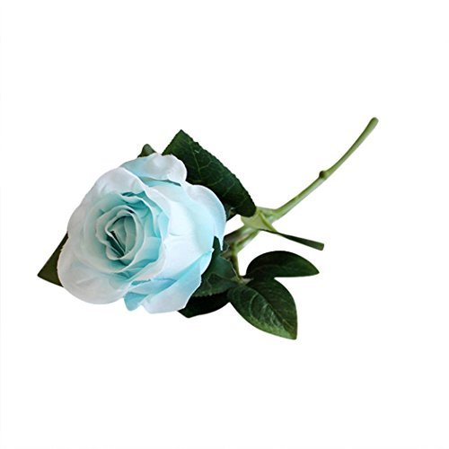 Simulation Single Rose Floral Koolee Artificial Silk Fake Flowers Wedding Bouquet Bridal Decor (Blue) ()