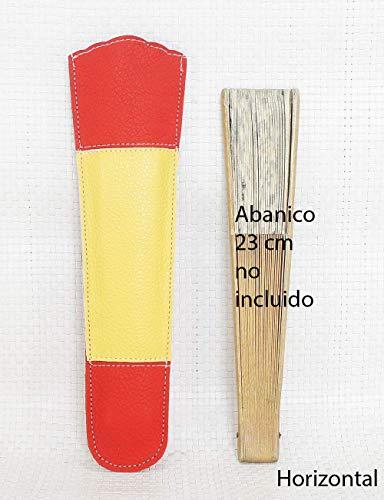 Funda de abanico bandera España. Funda Abanico de piel. Estuche abanico. Protector abanico. Abaniquera. Funda cuero bandera española.: Amazon.es: Handmade