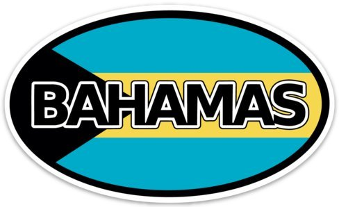 Backwoods Barnaby Bahamas Flag Euro Oval Decal Car Bumper Sticker