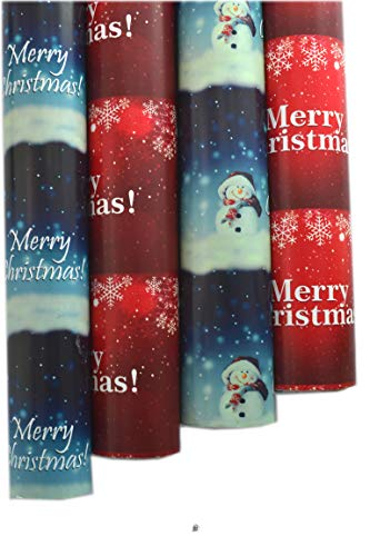 - American Chateau Set 12 Rolls (600sqft) Snowman Merry Xmas Wrapping Paper