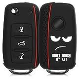 kwmobile Car Key Cover for VW Skoda Seat - Silicone Protective Key Fob Cover for VW Skoda SEAT 3 Button Car Key - White/Black/Red