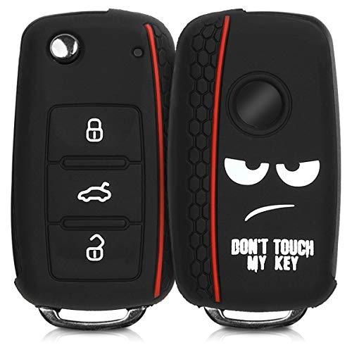 kwmobile autosleutelhoes compatibel met VW Skoda Seat 3-knops autosleutel – Siliconen beschermhoes in wit/zwart/rood…