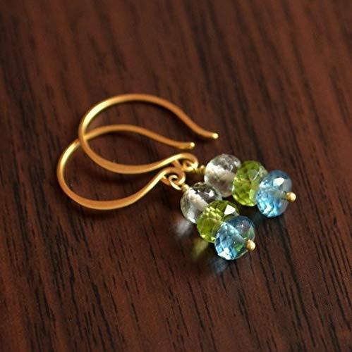 Gemstone Earrings, Blue and Green, Drop Earrings, London Blue Topaz, Lime Peridot, Green Amethyst, Gold Vermeil Jewelry 3-4mm by Gemswholesale (Topaz Kit Earring)