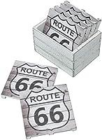 Multi Sunbelt Gifts 4400-77 Route 66 Wood Coaster Pallet Set of 6