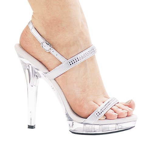 Scarpe Ellie Donna M-diamante Vestito Sandalo Argento / Trasparente