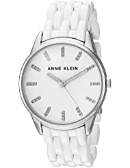 Anne Klein Womens AK/2617WTSV Glitter Accented Silver-Tone and White Resin Bracelet Watch