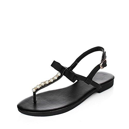 Allhqfashion Dames Split-teen Geen-hak Zacht Materiaal Stevige Gesp Flip-flop-sandalen Zwart