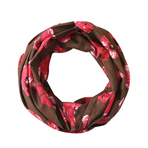 HYIRI Elegant Smooth And Soft Women Print Winter Convertible Infinity Loop Scarf Zipper Pocket Scarves