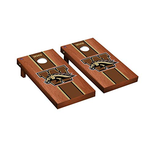 (Victory Tailgate Regulation Collegiate NCAA Rosewood Stained Stripe Series Cornhole Board Set - 2 Boards, 8 Bags - Western Michigan Broncos )