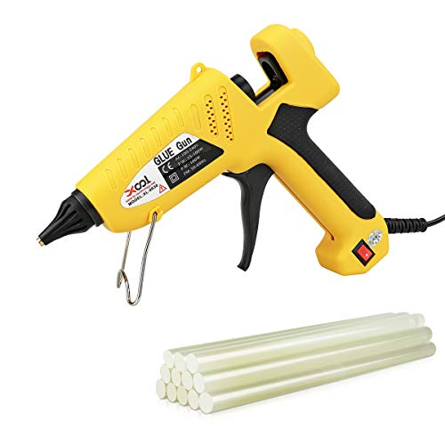 100-Watt Hot Glue Gun with Flexible Trigger, Professional Industrial Hot Melt Glue Gun Kit with 12 Pcs Hot Glue Gun Sticks, for DIY Gadget, Small Craft Projects and Quick Repairs in Home and Office ()