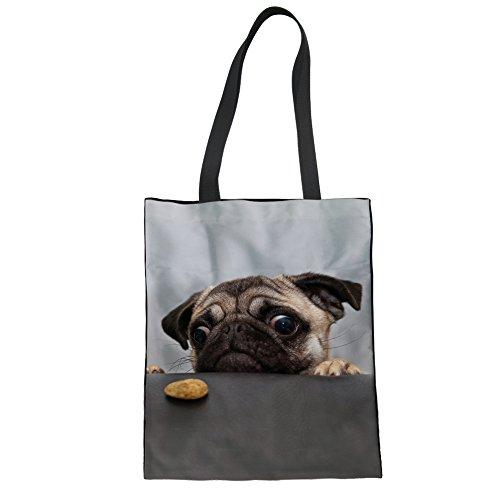 Bag Pug - Upetstory Canvas Tote Shopping Bag Shoulder Bags Funny Pug Dog Summer Beach Bag for Ladies Girls